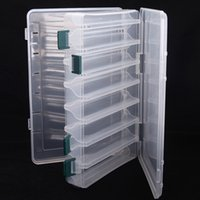 Wholesale Plastic Box Compartments Double Sided - 14 Compartments Double Sided High Strength Transparent Visible Plastic Fly Fishing Lure Tackle Box with Drain Hole 27*18*4.7CM