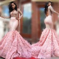 gold rosa abendkleider großhandel-Wunderschöne 2k17 Rosa Langarm Prom Kleider Sexy Durchsichtig Lange Ärmel Open Back Mermaid Abendkleider südafrikanisches formelles Partykleid