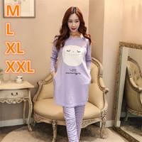 Wholesale Sexy Owl Shirt - Plus Size Autumn Winter Warm Women Cotton Cartoon Owl Bird Homedress Loungewear Pajamas Set Nightgrowns Sleepwear HCN16060