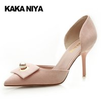 Wholesale China Slip Shoes - Pink Cute 4 34 Small Size Shoes 9cm Inch 2017 Pumps High Heels Black Ladies Footwear China Pointed Toe Stiletto Pearl Slip On