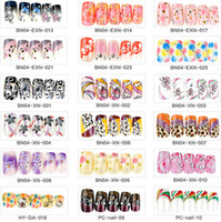 Wholesale Colored Tips Nails - Wholesale Mixed 5 Sets Lot (24pcs set) Multi-colored Long Full Cover False Nails Finger Salon Manicure DIY Nail Art Tips