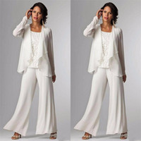 Wholesale Women Pant Suit 14 - 2017 Elegant Evening Mother of The Bride Dresses Ankle Length Long Sleeve Jackets Lace Pant Suits for Women Mother Groom Plus Size Gowns