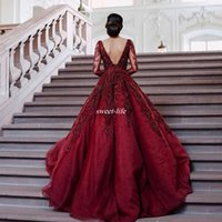 Wholesale Vintage Reception Wedding Dress - Burgundy Long Sleeve Wedding Dresses Backless V-Neck Beading Crystal Sweep Train 2017 Modest Plus Size Bridal Reception Formal Wedding Gowns