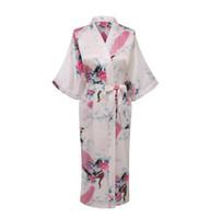 Wholesale wedding robes online - White Sexy Chinese Women Silk Rayon Robe Wedding Bridesmaid Sleepwear V Neck Kimono Bath Gown Mujer Pajama Plus Size XXXL WR017