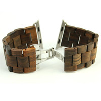 Wholesale natural wooden buttons - New Retro Natural Bamboo Wood Watchband for IWatch Series 1 2 3 Band Wooden with Adaptor for Apple Watch Band 38mm 42mm Bracelet belt