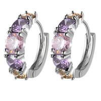 Wholesale Hoop Earrings Costume Jewelry - 18K Yellow White Gold Plated Four Claws AAA+ Multicolor Cubic Zirconia CZ Hoop Earrings for Women Fashion Party Costume Jewelry
