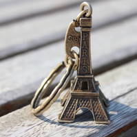 Wholesale Key Holder Paris - couple lovers key ring advertising gift keychain Alloy Retro Eiffel Tower key chain tower French france souvenir paris keyring keyfob cut