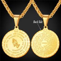 versos bíblicos venda por atacado-Orando Mãos Pingente de Colar Irmão Presente 18 K Banhado A Ouro de Aço Inoxidável Verso Da Bíblia Homens Medalha de Jóias