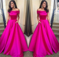 Wholesale sexy night gowns satin - 2017 Off Shoulder Fuchsia Prom Dress Long A Line Night Gown New Arrival Custom Made Party Dresses Evening Wear with Pocket