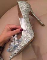 Wholesale Crystal Bridal Shoes Bow - Womens girls Cinderella Crystal Rhinestone Stiletto Heels Party Wedding Stilettos Pumps Shoes silver Bridal Accessories big size XMAS gift