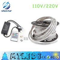 Wholesale 15m Led Light - FREE Cut 10M 15M 20M 25M 30M 35M 40M 50M 110V 220V High Voltage SMD 5050 RGB CW Led Strips Lights Waterproof +IR Remote Control+Power Supply