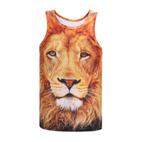 Wholesale Boys Size Tank Tops - Wholesale- 2016 Newest Digital print Animals Men boy tank tops 3d print lion slim summer tops tees 3d vest Asia size