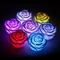 Wholesale romantic love light - Changeable Color LED Rose Flower Candle Lights Smokeless Flameless Roses Love Lamp Rose Night Light Romantic Lamp Gifts with Retail Box