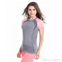 Wholesale Short Sleeved Women Shirts - Fitness high elastic yoga running gymnastics quick - moving sports short - sleeved T - shirt