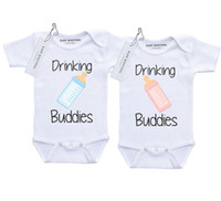 Wholesale Twins Baby Clothes Wholesale - New Fashion Drinking Buddies Letter Baby Sunsuit Twin Baby Clothes Body Suits Newborn Clothes Children White Summer