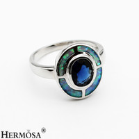 Wholesale Natural Blue Ring - Women Ladies Ring Hermosa Natural Gemstone Australian Blue Opal Ring Wedding Sparkle Blue Sapphire Women Jewelry Size 7 8