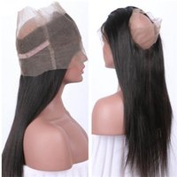 Wholesale Indain Lace - Fashion human hair 360 frontal natural color silk straight virgin indain pre plucked lace frontal free shipping