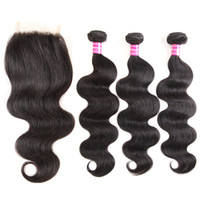 Wholesale Brazilian Remy Hair For Cheap - Mink 8a Brazilian Hair Bundles with Closure Cheap Remy Human Hair Weaves Closure 4x4 Top Lace For Black Women Unprocessed Hair Extensions