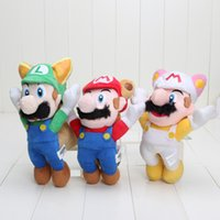 """Wholesale Raccoon Mario Toy - Super Mario Bros Flying Raccoon Tanooki Mario Plush Doll Toy For Child Best Gifts (3pcs Lot  Size: 8"""" 20cm)"""