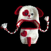 Wholesale Baby Dog Photos - Adorable Newborn Valentine Day Puppy Costume,Handmade Knit Crochet Baby Boy Girl Dog Animal Hat and Diaper Cover Set,Infant Photo Prop