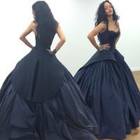 Wholesale Dark Navy Formal Gown - Rihanna Zac Posen Celebrity Red Carpet Evening Prom Dresses 2018 Sexy Dark Navy Gothic Taffeta Arabic Formal Occasion Gowns Black Girl