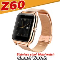 Wholesale Mobile Phone Stainless Steel - Z60 Smart Watch For Android IOS Stainless steel Bluetooth DZ09 Mobile Phone Smart Watches waterproof Touch smartwatch DZ09 A1 GT08 V8 X6 U8