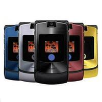 Wholesale Razr Battery - Refurbished RAZR V3 V3i 2.2Inch Screen Quad Band 1.3MP Camera 710MAH Battery phone six color.
