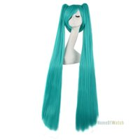 Wholesale Hatsune Miku Anime Wigs - wig bleach New style 100cm Light Blue 40 inch extra Long Straight hair Wig anime Cosplay Wigs Hatsune Miku clip with 2 ponytials