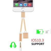 Wholesale Ios Iphone Usb - new hot iPhone 7 Plus Convertor 3.5mm USB lighting Jack Headphone Headset adaptor charger 10.32 Ios charging earphone Cable
