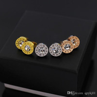 Wholesale Little Black Earring - South Korea 316L Stainless Steel love stud earrings little round crystal rome number earrings for women men Couples fine jewlery wholesale
