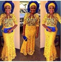 gelbe meerjungfrau prom kleider lang großhandel-African Yellow Lace Mermaid Abendkleider mit 3/4 langen Ärmeln Prom 2K17 Kleider Party Abendgarderobe lange formale Cocktailkleider