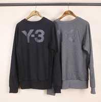 Wholesale Hooded Gloves - Y3 Sweater Hooded Gloves LOGO Round Collar Coats Two-color-fitted round neck prints Men and women lovers loose kanye west Slim Men's clothin