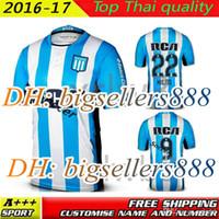 Wholesale Racing Jerseys - Top Thai quality 2016 2017 Argentina Racing Club de Avellaneda jersey away 16 17 Home Blue MILITO 22 LISANDRO 9 Racing football Shirt