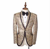 Wholesale Color Plus Formal Man Dress - Fashion 2017 Men's Blazer Gold Printed Jacket Plus Size Staphyloccus star small paillette suit top outerwear male formal dress