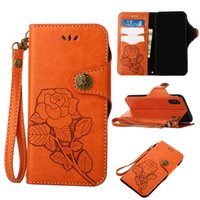Vintage Style Rose Flower PU Leather Wallet Cell Phone Case com Lanyard Button Cercado magnético para iphone X 7 8 plus 6s 6s mais 5s 4s