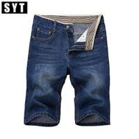 Wholesale Wholesale Men Short Jeans - Wholesale- SYT New Arrivals Mens Jeans Classic Casual Knee Length Slim Regular Fit Elasticity Cotton High Stretch Denim Shorts V7S1S019