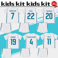 Wholesale Child Gold - Real Madrid soccer Jersey Kids Kit 17 18 Real Madrid home white Soccer Jerseys RONALDO RAMOS BALE Child Soccer Shirts uniform jersey+shorts