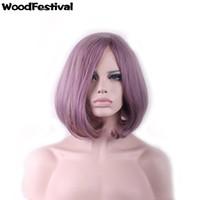 Wholesale Light Purple Wigs - WoodFestival light purple taro bob wig women short hair wigs heat resistant fiber hair synthetic wigs can be hot