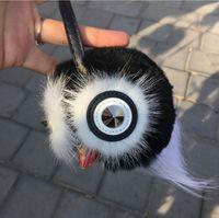 Wholesale Bugs Keychain - 8 colors Retail Real Fur Monster Pom Pom Fur Balls Doll Ball Key ring key chain Bag car Charm Fur Keychain Fashion Coin Bag Bag Bugs