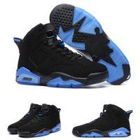 Wholesale Lace High Lows - 2017 New arrival air retro 6 UNC Men Basketball Shoes black and blue high quality retro 6 Men sport shoes Sneakers eur 41-47