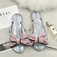 Wholesale Bling Bow Flats - sweet girls pink love bow sandals luxury big rhinestone flip flops women bling transparent sandals bowknot sandalias mujer a15