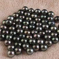 Wholesale Oyster Lights - 2017 new 8--10mm DIY high light round black big natural seawater Oyster pearl for women statement Jewelry Loose beads accessories wholesale
