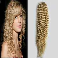 Wholesale Curly One Piece Remy Extensions - 613 Blonde Hair 100g Brazilian Curly Virgin Human Hair One Bundle Remy Human Hair Extensions double weft 1 Piece Only