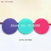 ingrosso aqua turchese-Pendenti acrilici all'ingrosso- (3colors, 24pcs / lot) 50mm cerchio rosa scuro, Aqua, disco turchese con foro ritaglio 2 pollici -AC1065C