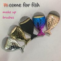 Wholesale Make Up Setting Powder - New Mermaid Makeup Brush Powder Contour Fish Scales Mermaidsalon Foundation Brush Set Beauty Cosmetics Blush Powder make up brush