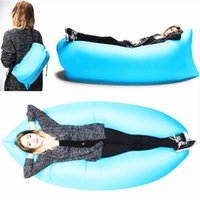 Wholesale Fast Inflatable Sofa Air Sleeping Bags Beach Lounger Hangout Couch Portable Camping Hiking Beds Lazy Beach Lay Chairs Outdoor