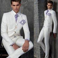 pantalón de abrigo de tres piezas formal al por mayor-Al por mayor-Nueva por encargo de los hombres blancos trajes de boda novio esmoquin Padrinos de boda traje formal Coat + Pants + chaleco de tres piezas