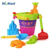 Wholesale Beach Play Sets - NUKied Cute Kids Sand Beach Bucket Toys 8 Pcs Set Baby Kids High Quality ABS Plastic Excavating Sand Play Water Tools Toy