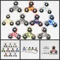 Wholesale 2017 Camo Fidget Spinners toys Camouflage Gyro Toys Hand spinner with lights Toy For Decompression Anxiety Toys with retail box colors