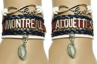 Wholesale Montreal Canada - Wholesale- Drop Shipping Infinity Love Montreal Alouettes Canada Football Charm Bracelets-Customized CFL Team Clubs Sports Cheering Gift